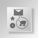 3D Email Marketing Button Icon Concept Stock Photo