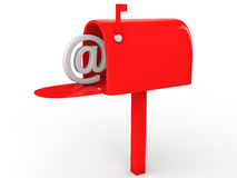 3d email post box. 3d render of email concept with red post box Stock Image