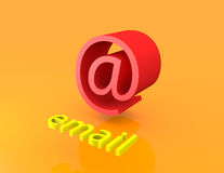 3D email przy znakiem Zdjęcia Royalty Free