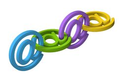 3D email symbol message chain. Isolated on white communication concept royalty free illustration