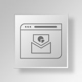 3D Email Web Browser Button Icon Concept. 3D Symbol Gray Square Email Web Browser Button Icon Concept Stock Images