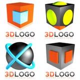 3D embleem van de gebiedkubus Stock Afbeelding