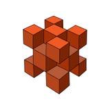 3D Embleem van de Kubus Stock Illustratie