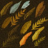 3D Embossed Painted surface background. Autumn leaves embossed on gradient background. 3D Embossed Painted surface background. Autumn leaf embossed on gradient vector illustration