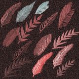 3D Embossed Painted surface background. Autumn leaves embossed on gradient background. 3D Embossed Painted surface background. Autumn leaf embossed on gradient stock illustration
