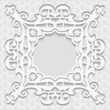 3D embossed white background. Frame for pictures, Arabic and Indian ornament, vector EPS10 Royalty Free Stock Photography