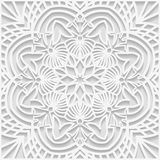 3D embossed white background. Square tiles, Arabic and Indian ornament, vector EPS10 Royalty Free Stock Photo