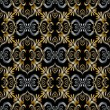 3d embroidery Baroque seamless pattern. Vector black gold silver. Abstract vintage background. Ornate tapestry floral ornament in baroque victorian style vector illustration