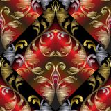 3d embroidery Baroque seamless pattern. Vector black red gold ab. Stract geometric 3d background. Ornate tapestry floral ornament in baroque victorian style Stock Photography