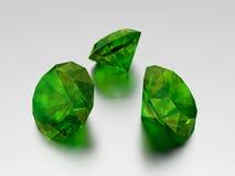 3D Emerald - 3 Green Gems Stock Image