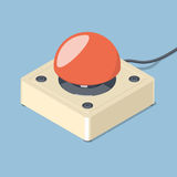 3D Emergency start stop red button. Isometric vector illustration Stock Image