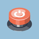 3D Emergency start stop red button. Isometric vector illustration Stock Photo
