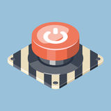 3D Emergency start stop red button. Isometric vector illustration Royalty Free Stock Image
