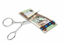 3D Emirates Currency with pairs of Scissors Stock Photos