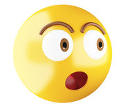 3D Emoji icon surprised. Stock Photos