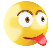 3D Emoji icon with tongue out. Stock Images