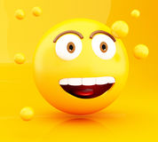 3d Emoji icons with facial expressions. 3d illustration. Emoji icons with facial expressions. Social media concept Royalty Free Stock Photos