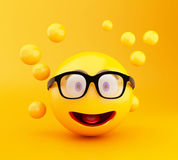 3d Emoji icons with facial expressions. 3d illustration. Emoji icons with facial expressions. Social media concept Stock Image
