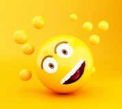 3d Emoji icons with facial expressions. 3d illustration. Emoji icons with facial expressions. Social media concept Royalty Free Stock Image