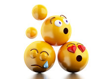 3d Emojis icons with facial expressions. Stock Photos