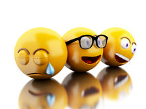 3d Emojis icons with facial expressions. Stock Photography
