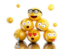 3d Emojis icons with facial expressions. 3d illustration. Emojis icons with facial expressions. Social media concept.  white background Royalty Free Stock Photos