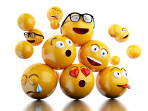 3d Emojis icons with facial expressions. 3d illustration. Emojis icons with facial expressions. Social media concept.  white background Stock Images