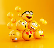 3d Emojis icons with facial expressions. 3d illustration. Emojis icons with facial expressions. Social media concept. Yellow background Stock Photography