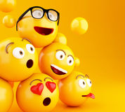 3d Emojis icons with facial expressions. 3d illustration. Emojis icons with facial expressions. Social media concept. Yellow background Royalty Free Stock Images