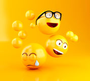 3d Emojis icons with facial expressions. 3d illustration. Emojis icons with facial expressions. Social media concept. Yellow background Royalty Free Stock Photos