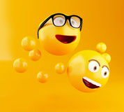 3d Emojis icons with facial expressions. 3d illustration. Emojis icons with facial expressions. Social media concept. Yellow background Stock Photos