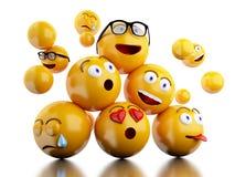 3d Emojis-pictogrammen met gelaatsuitdrukkingen Stock Afbeeldingen
