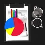 3d empapelan el tablero cliped - concepto de la estática del gráfico de sectores y del gráfico de barra Fotografía de archivo libre de regalías