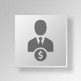 3D Employee Button Icon Concept Stock Photography