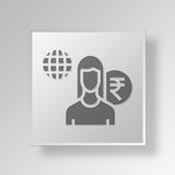 3D Employee Button Icon Concept Stock Photos