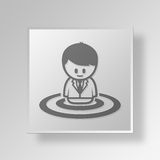 3D Employee Targeting Button Icon Concept Royalty Free Stock Photos