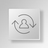 3D employee turnover Button Icon Concept Stock Image