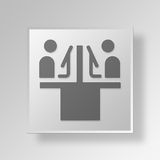3D employees Button Icon Concept Stock Images