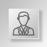 3D empresário Button Icon Concept Fotografia de Stock