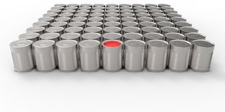 3D empty cans on white background paint with one red can filled. Design Royalty Free Stock Photography