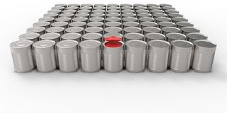 3D empty cans on white background paint with one red can filled. Design Royalty Free Stock Images
