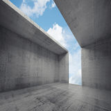 3d empty concrete room interior with opening Stock Photo