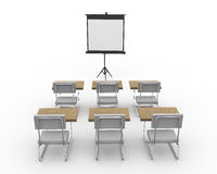 3d empty conference room. 3d rendering of tripod projector screen and chairs in an empty conference meeting room Stock Images