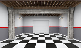 3d empty garage with metallic roller shutter door on white background Royalty Free Stock Photography