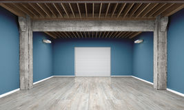 3d empty garage with metallic roller shutter door on white background. 3D illustration Stock Image