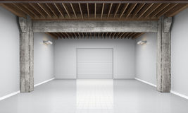 3d empty garage with metallic roller shutter door on white background Royalty Free Stock Image
