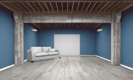 3d empty garage with sofa Royalty Free Stock Photo
