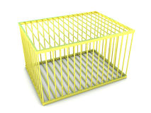 3d Empty gold cage Stock Images