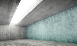 3d empty gray concrete room with blue wall. Abstract architecture interior background, empty gray concrete room with white light opening in ceiling and one green stock illustration