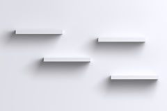 3D empty horizontal shelves on white wall with shadow Stock Image